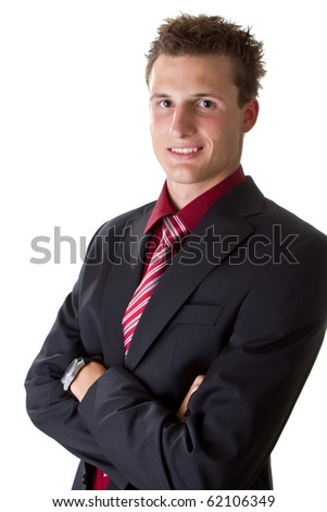 Young fresh trendy businessman isolated over white background. Handsome cool male model.