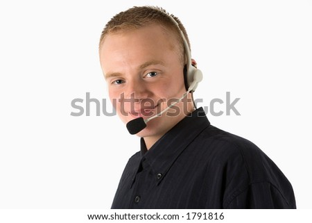 young friendly man with a headset