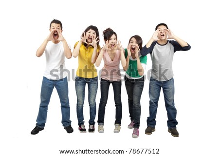 Young friends shouting together - stock photo
