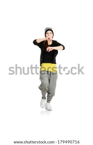 Young funky dancer, isolated on white background
