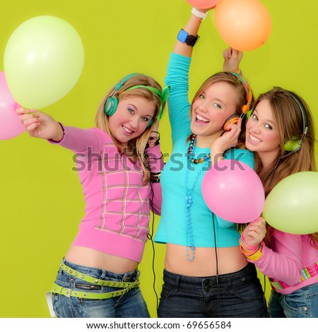 young funky neon fashion party girls with balloons