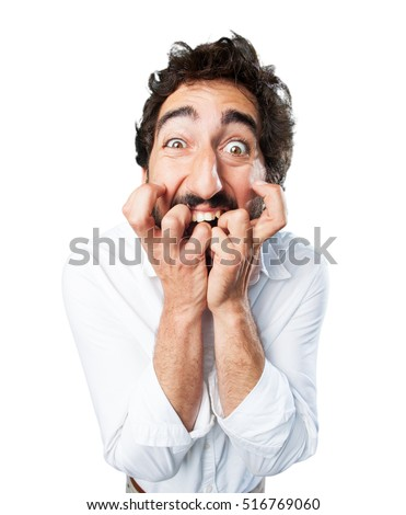 young funny man scared pose. worried pose Stock fotó ©