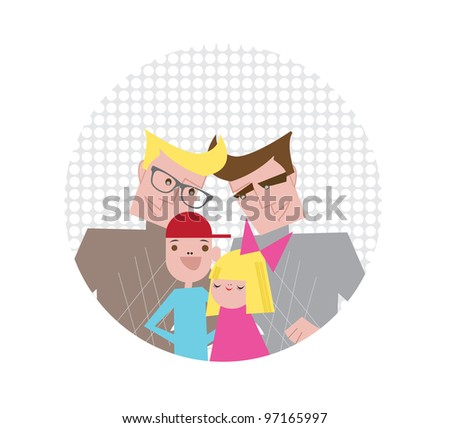 Young Gay Family with two Kids