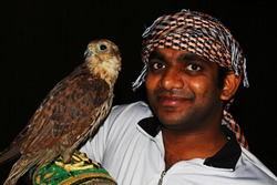 young gentile man with falcon bird at night in arabia