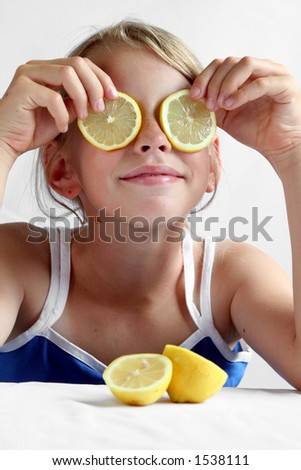 Young girl and lemon