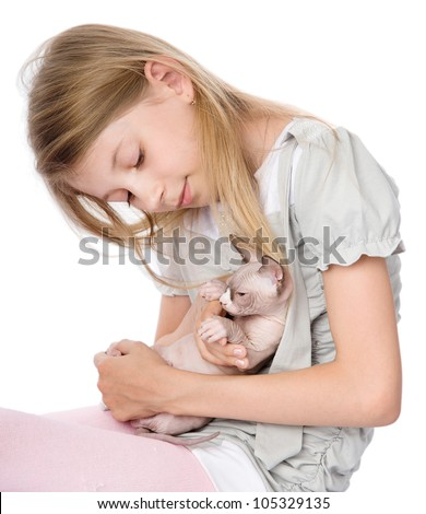 young girl and newborn sphynx cat. isolated on white background