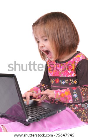 Young girl and notebook - stock photo