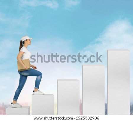Young girl at the start of a career climbs the career ladder. first job, career start, career ladder, post office worker
