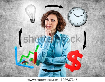 Young girl before movement objects in business