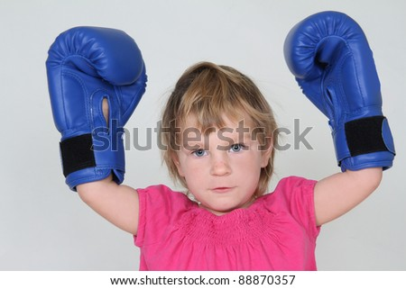 young girl boxer studio shot - stock photo