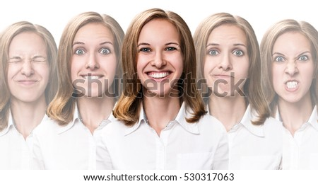Young girl changes her face portraits. #530317063