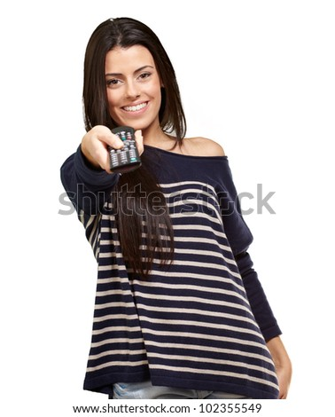 young girl changing channel over a white background