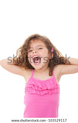 young girl child singing or shouting