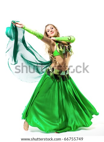 young girl dance with green veil - traditional arabic costume - stock photo