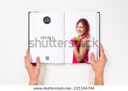 Young girl doing weightlifting printed on book #221146744