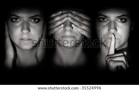 young girl don't want to hear, see or speak - stock photo