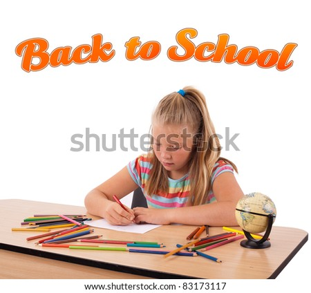 Young girl drawing on desk with back to school theme isolated on white