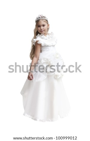 Young girl dressed up as a white fairy with crown