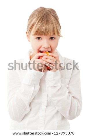 Young girl eating apple - healthy diet concept - stock photo
