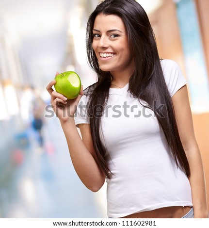 Young Girl Eating Apple, Indoor