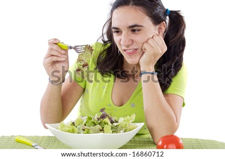 Young Girl eating salad. I do not like anything!