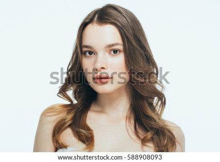 Stock Photo Young girl face beauty skin portrait.