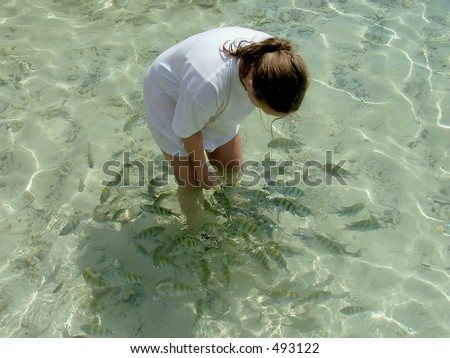 Young girl feeding tropical fishes