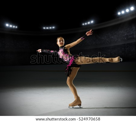 Shutterstock Young girl figure skater (on ice arena with spotlights ver)