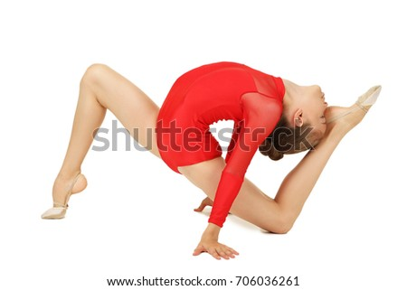 Young girl gymnast on white background #706036261