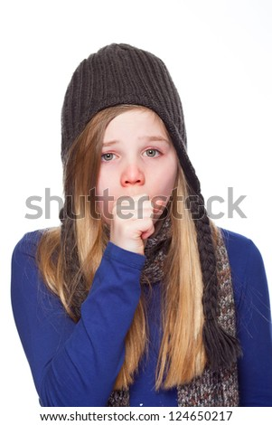 young girl having a cold