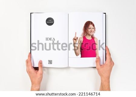 Young girl having an idea printed on book #221146714
