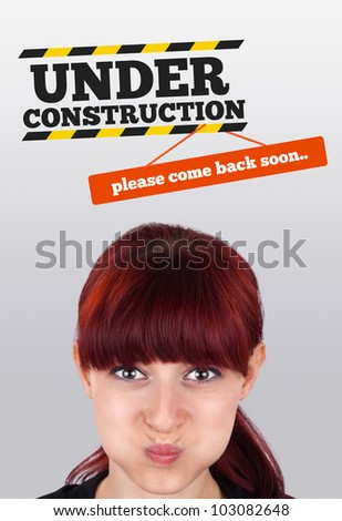 Young girl head looking at construction signs
