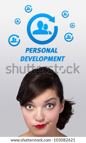 Young girl head looking with gesture at labor type of icons