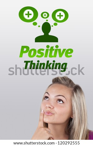 Young girl head looking with gesture at positive negative signs