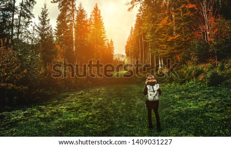 Young girl hiker at forest mountains landscape with backpack travel. Lifestyle wanderlust adventure. Location Carpathian national park, Ukraine, Europe #1409031227