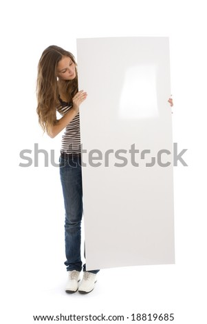 Young girl holding a long vertical white banner over a white background