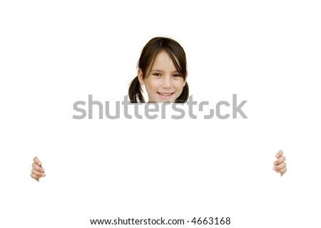 young girl holding a white banner isolated on white