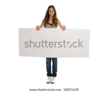 Young girl holding a white banner over a white background