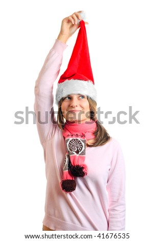young girl in a Christmas hat