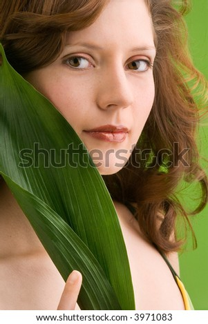 stock photo young girl in bikini is holding a leaf 3971083 Nude Filipina girls