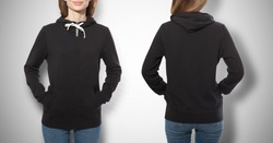 young girl in black sweatshirt front and rear, black hoodies, blank isolated on white background. mock up