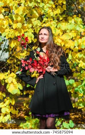 19514e29d Free photos Young slim woman autumn portrait. Red colors.