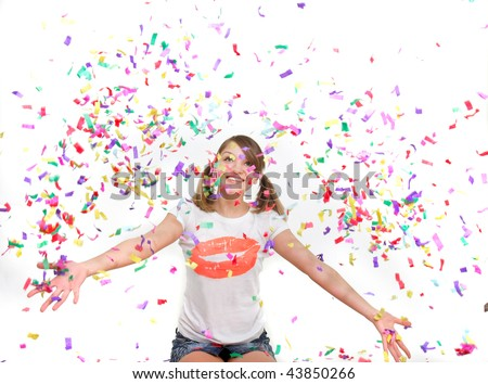 young girl in confetti over white
