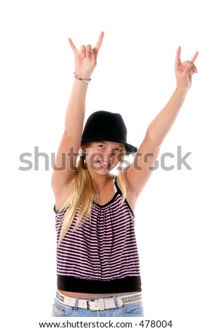 "Young girl in cute hat and cloths flashing the ""rock on"" devil horns"