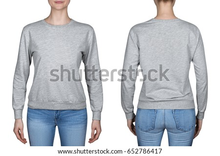 young girl in gray sweatshirt, gray hoodies. white background