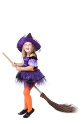 Young girl in halloween costume with broom on white background