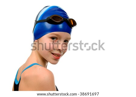 Young girl in swimsuit ready for contest over white background