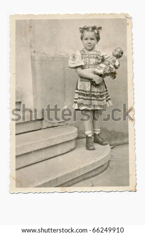 young girl in the folk costume, about 1952, slovakia
