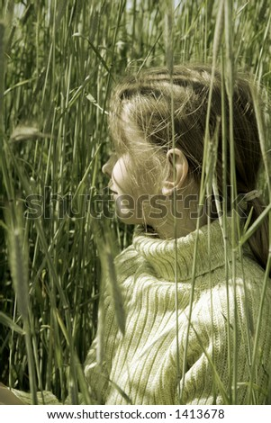Young girl in the rye. Colorized green.