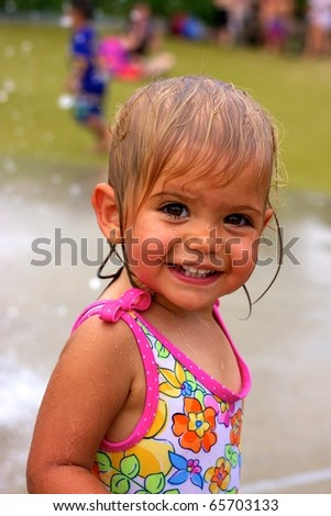 Young Girl in water park